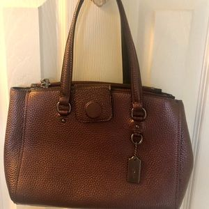 Coach peppled leather satchel- burgundy